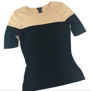 Black & Tan Colorblock Short Sleeved Sweater (S)